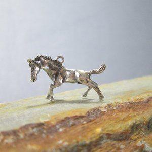 Sterling Silver Bracelet Charm HORSE Frolicking